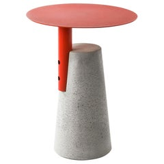"""Concrete and Powder Coated Steel Side Table, """"Bai,"""" M, Red, from Concrete"""