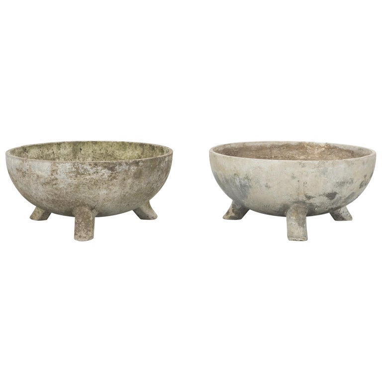 Concrete Bowl Planters by Willy Guhl for Eternit For Sale