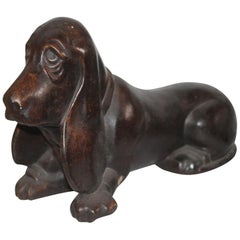 Concrete Dachshund Dog with Original Painted Surface