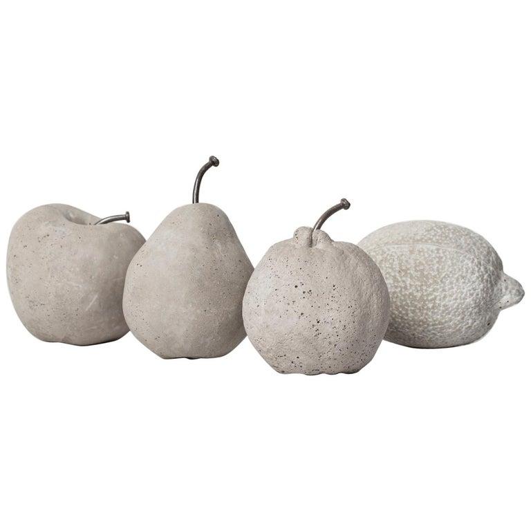Concrete Fruits (set), CONTEMPORARY SCULPTURES IN CONCRETE For Sale
