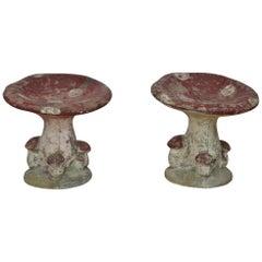 Concrete Garden Mushroom Seats or Garden Mushroom Stools, France