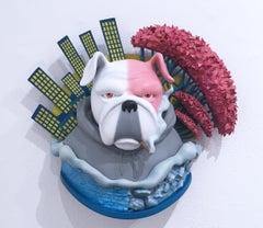Frank Wall I by Concrete Jungle, 3-D printed pop art bull dog wall sculpture