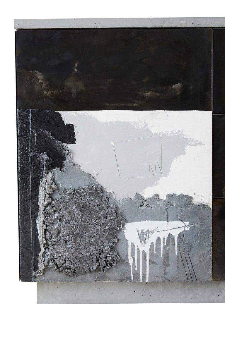 Minimalist Concrete, Patinated Steel, Wood,