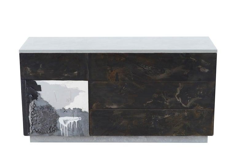Cast Concrete, Patinated Steel, Wood,