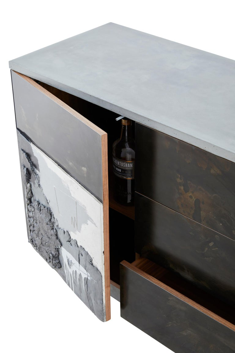 Concrete, Patinated Steel, Wood,