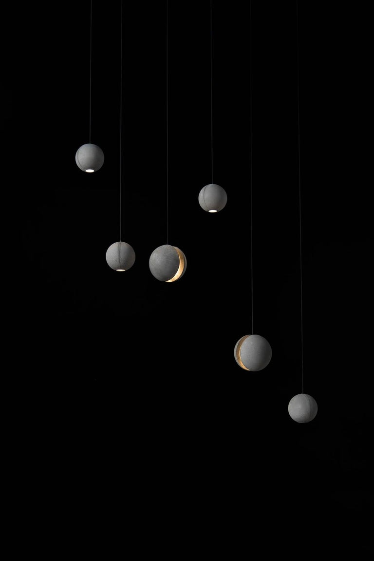 Chinese Concrete Pendant Lamp 'Moon M' by Bentu Design For Sale
