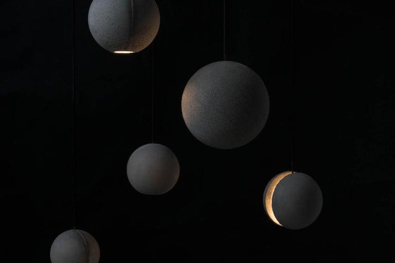 Contemporary Concrete Pendant Lamp 'Moon M' by Bentu Design For Sale