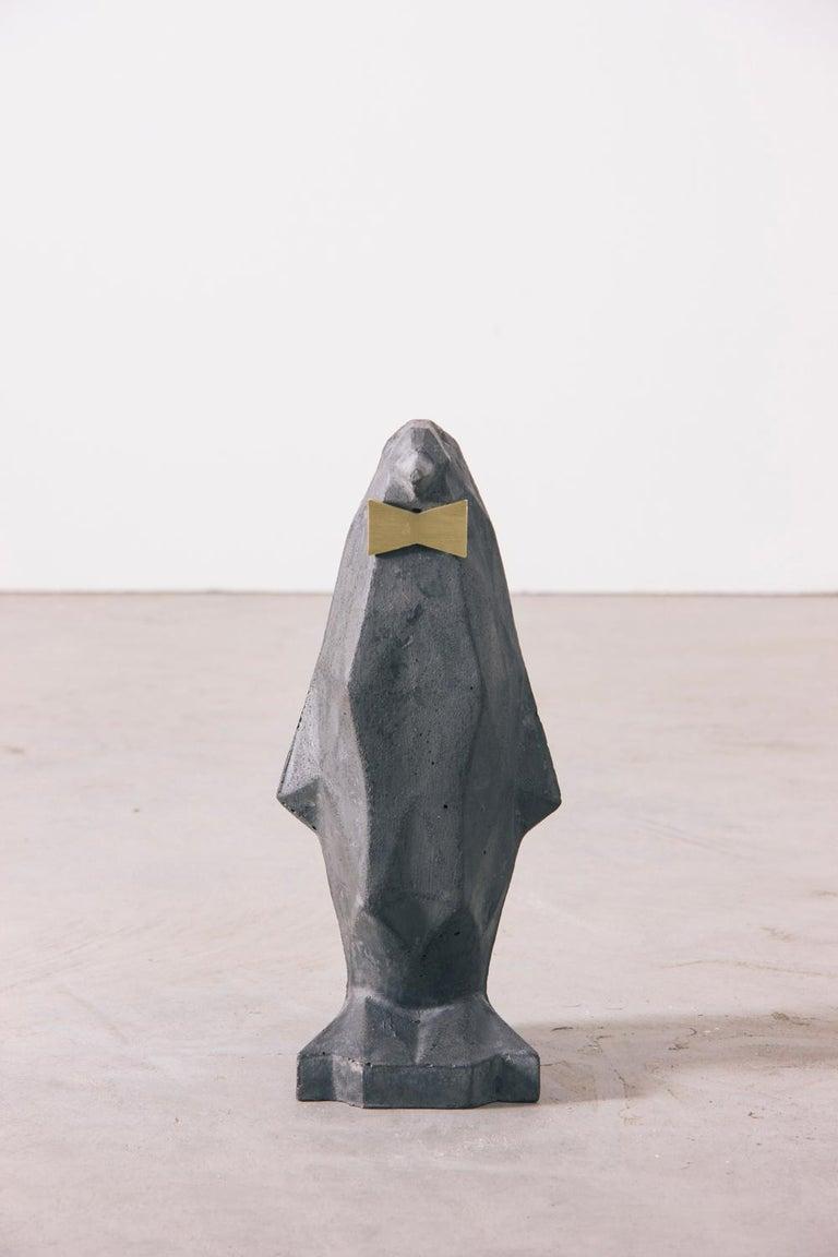 Polished Concrete Contemporary Penguin Sculpture in Black  For Sale