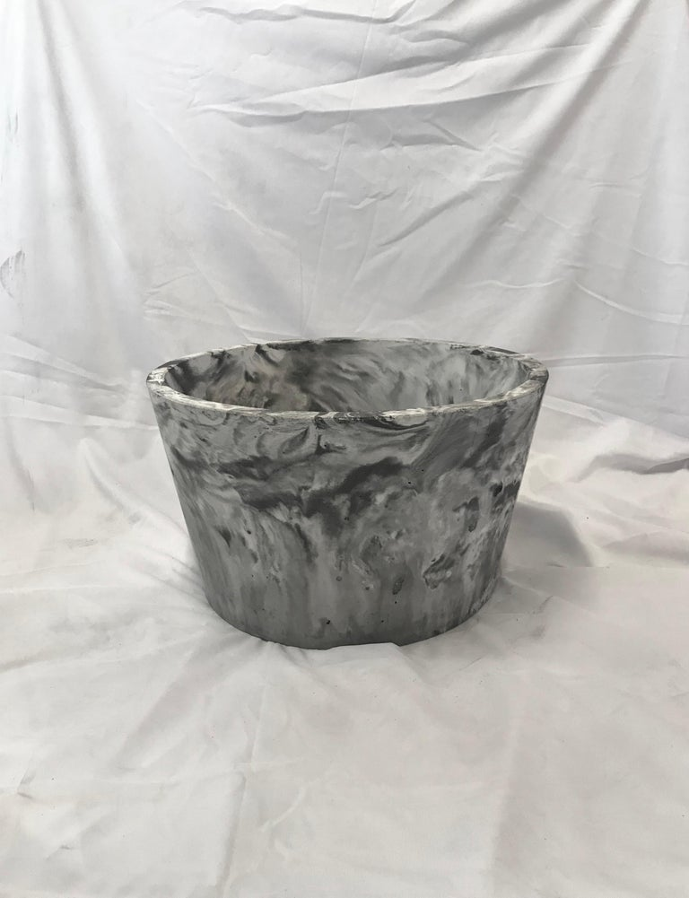 Canadian Concrete Planter 1.0 in Marbled Scagliola for Indoor or Outdoor by Mtharu For Sale