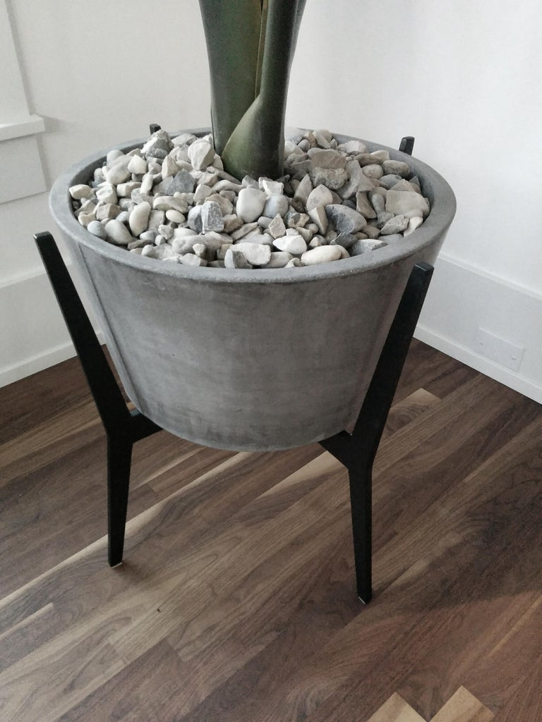 Cast Concrete Planter 1.0 in Marbled Scagliola for Indoor or Outdoor by Mtharu For Sale