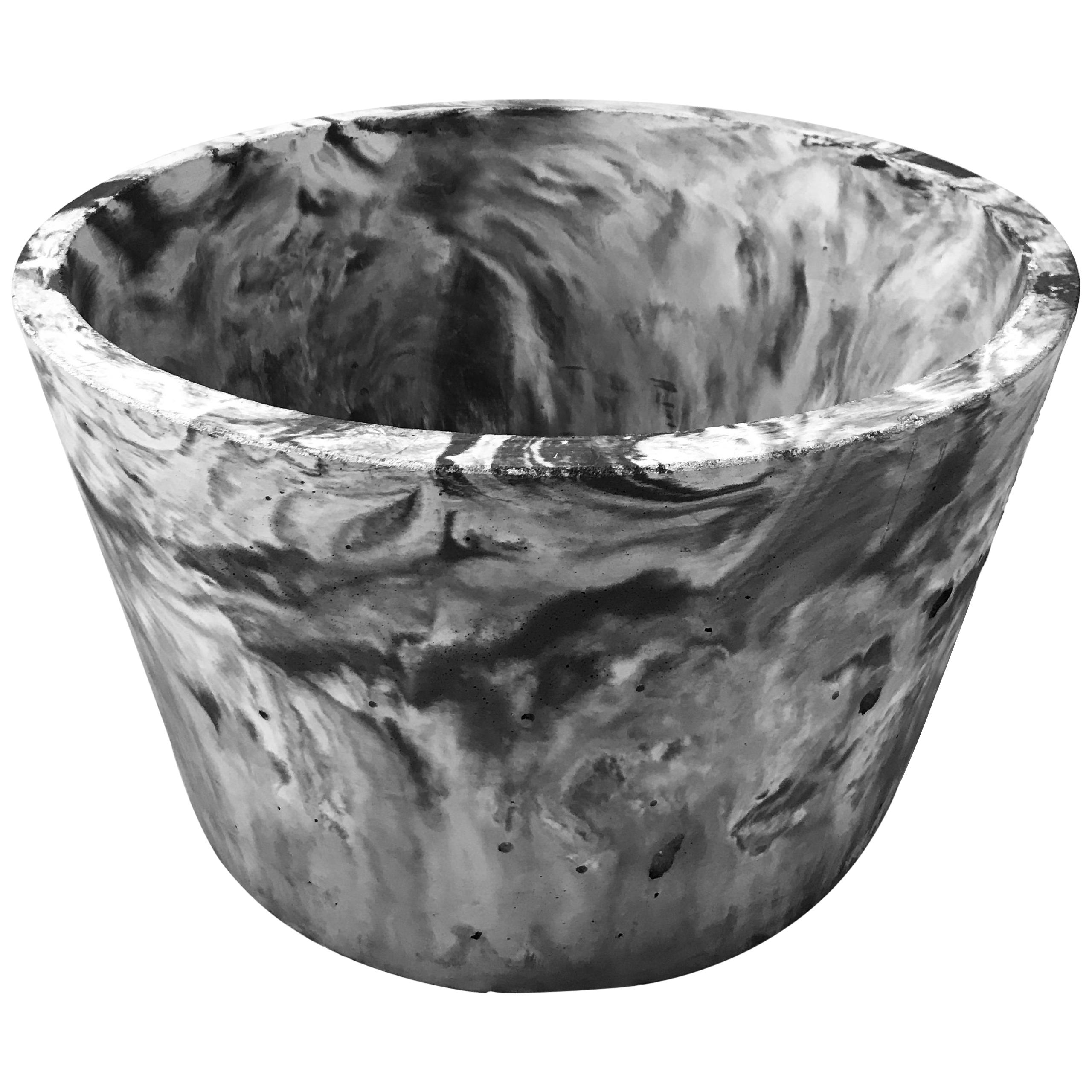 Concrete Planter 1.0 in Marbled Scagliola for Indoor or Outdoor by Mtharu