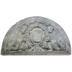 Concrete Victorian Demilune Sculptural Cherub Angel Garden Plaque Pediment