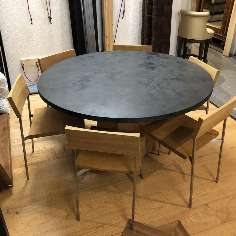 Concrete Wood And Stainless Steel Dining Set For Sale At 1stdibs
