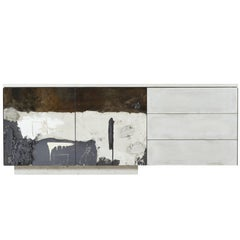 Concrete, Steel, Wood, Painted C-210 Cantilevered Credenza with Art Faces
