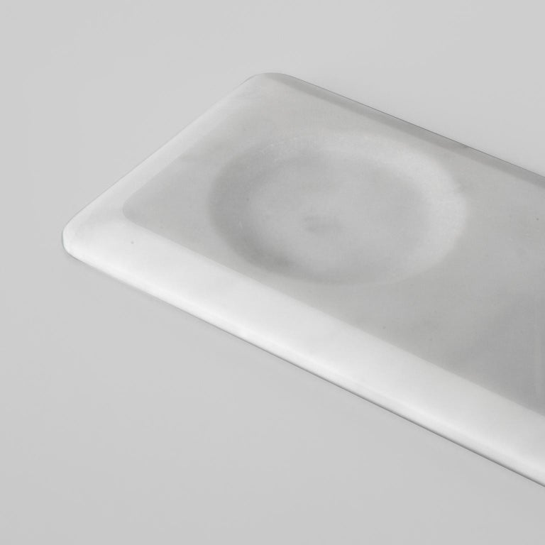 Condiments Tray in White Michelangelo Marble by Colominas, Italy, in Stock In New Condition For Sale In Milan, IT