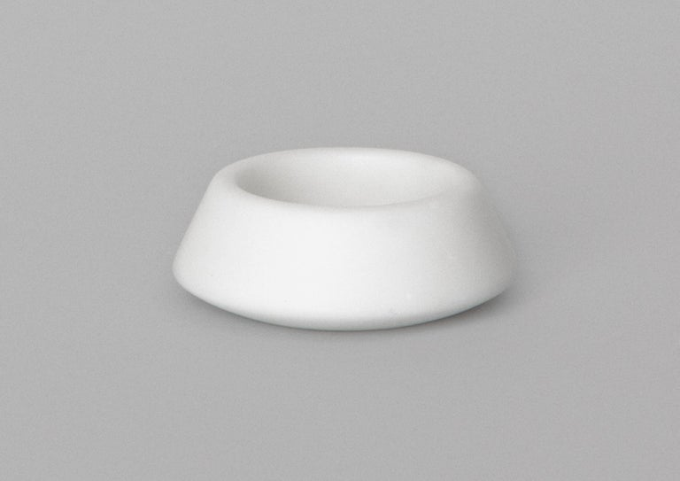 Contemporary Condiments Tray in White Michelangelo Marble by Colominas, Italy, in Stock For Sale