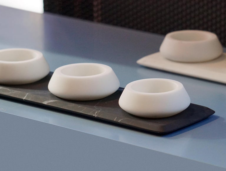 Italian Condiments Tray in White Michelangelo Marble by Colominas, Italy, in Stock For Sale