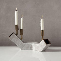 'Conduit Balance' Ceramic and Brass Brutalist Candelabra