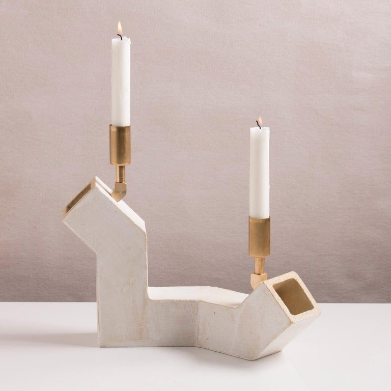 American 'Conduit' Brutalist White Ceramic and Brass Duo Candelabra For Sale