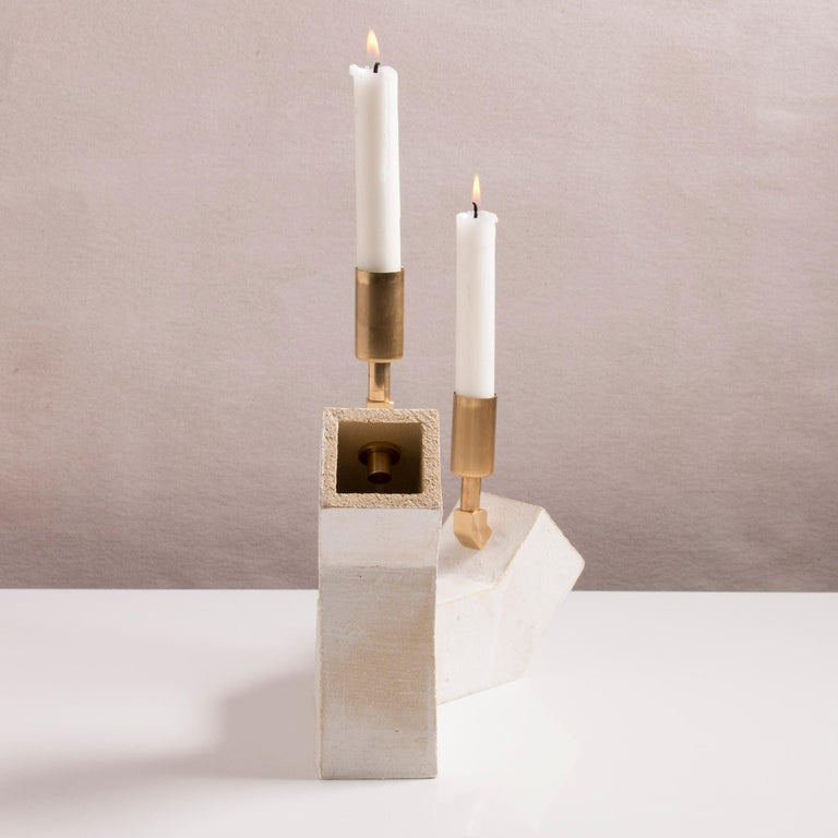 'Conduit' Brutalist White Ceramic and Brass Duo Candelabra In New Condition For Sale In Bronx, NY