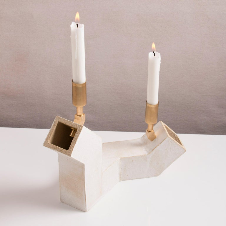 Contemporary 'Conduit' Brutalist White Ceramic and Brass Duo Candelabra For Sale