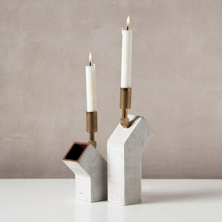 Modern 'Conduit' Ceramic and Brass Pair of Brutalist Candlesticks For Sale