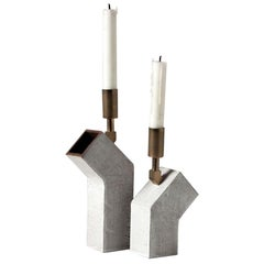 'Conduit' Ceramic and Brass Pair of Brutalist Candlesticks
