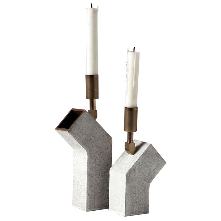 'Conduit' Ceramic and Brass Pair of Brutalist Candlesticks For Sale