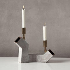 'Conduit Duo' Ceramic and Brass Brutalist Candelabra