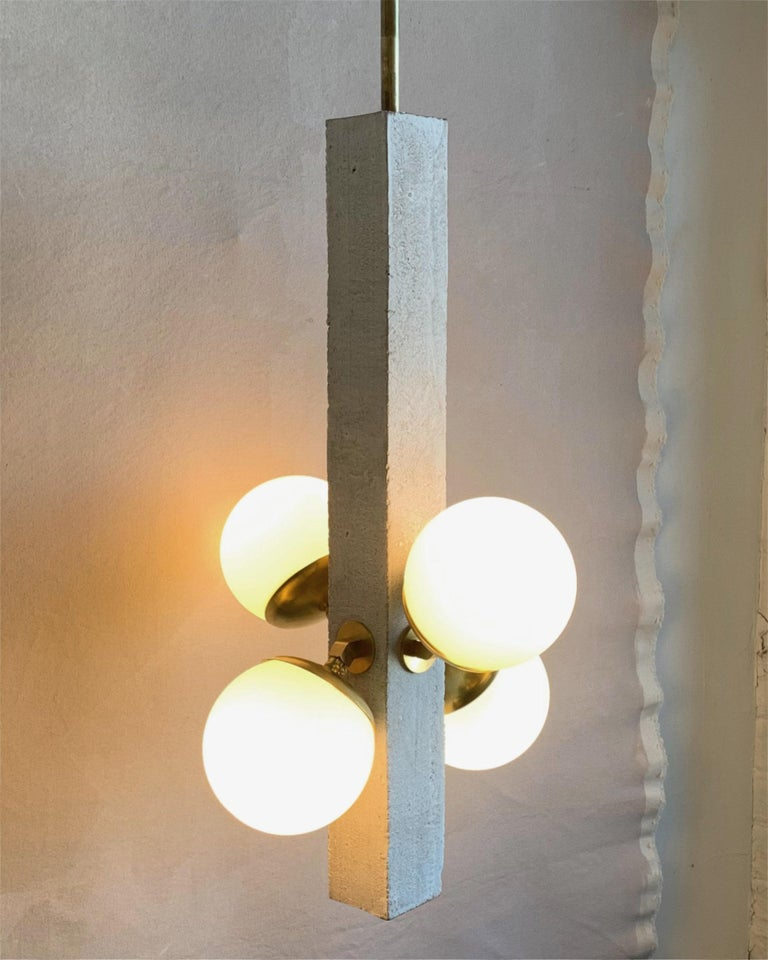 Conduit Pendant 180.24.4 Brutalist Ceramic and Brass Light In New Condition For Sale In Bronx, NY