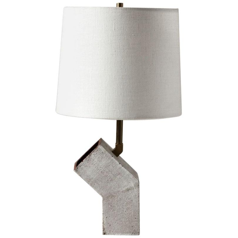 'Conduit' Brutalist White Ceramic and Brass Small Table Lamp with Linen Shade