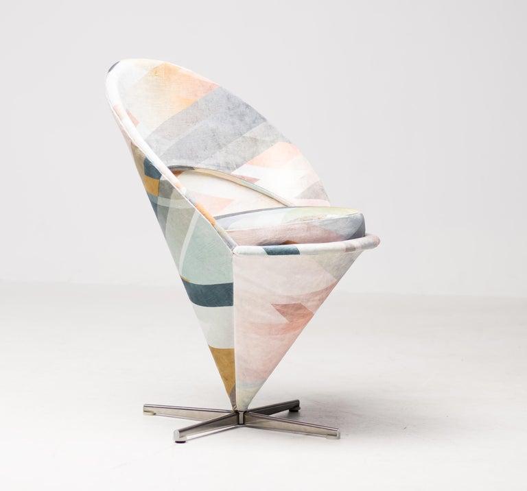 Cone Chair by Verner Panton in Kit Miles Diagonal Gradient Blue For Sale 4