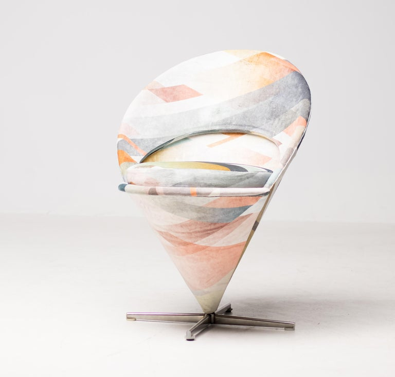 Early production Verner Panton cone chair, re-upholstered in spectacular diagonal gradient blue velvet designed by Kit Miles. Metal cone with removable seat. Manufactured in 1958 by Plus Linje.