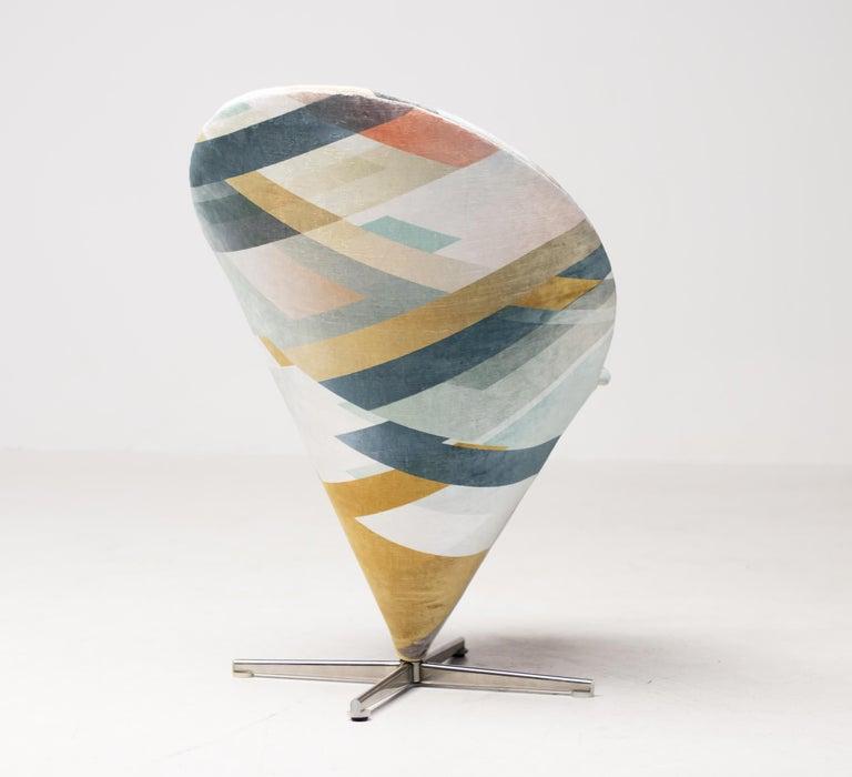 Danish Cone Chair by Verner Panton in Kit Miles Diagonal Gradient Blue For Sale
