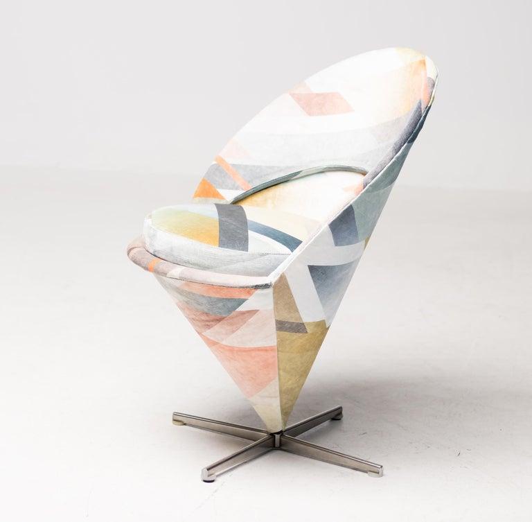 Steel Cone Chair by Verner Panton in Kit Miles Diagonal Gradient Blue For Sale