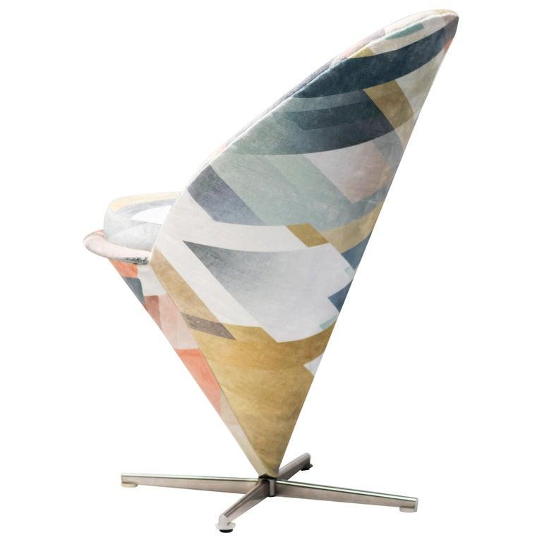 Cone Chair by Verner Panton in Kit Miles Diagonal Gradient Blue For Sale