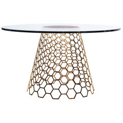 Cone Dining Table, Metal Honeycomb Base Paired, Accent Marble Sits Under Glass