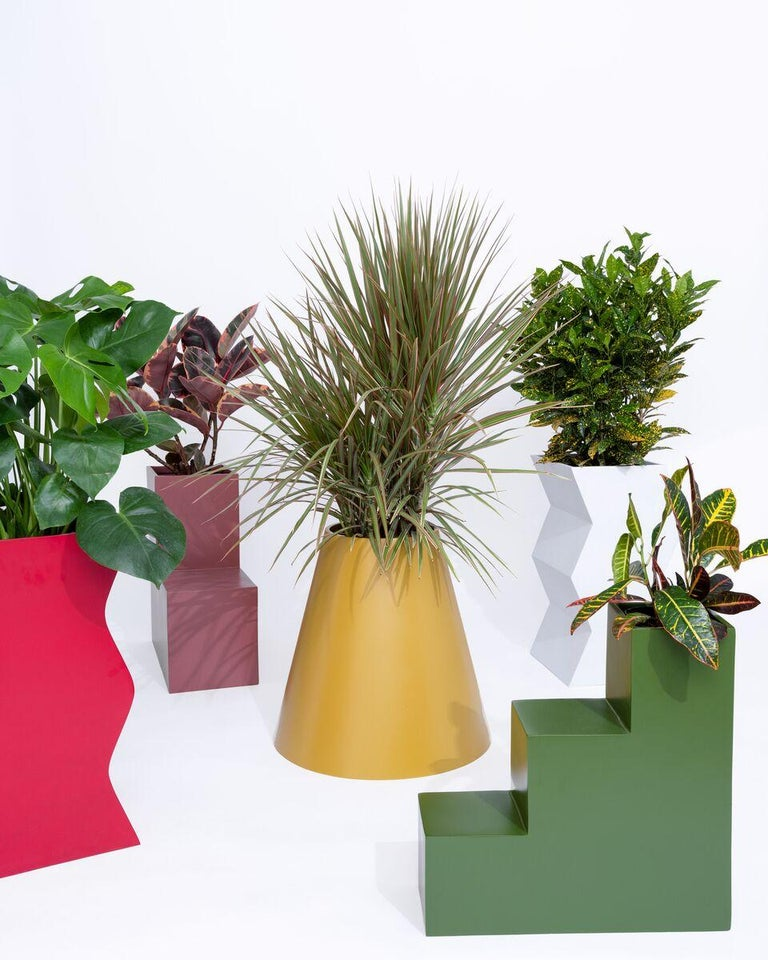 """Fiberglass planters suitable for indoor or outdoor use. Made by hand in Vietnam. Lead time 8 weeks unless in stock.  Dimensions: Base 22"""", opening 9"""", height 20""""."""