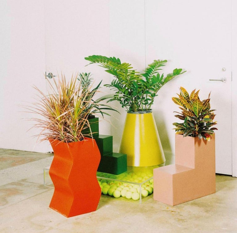Modern Cone Planter by Pieces, Yellow Fiberglass Planters For Sale