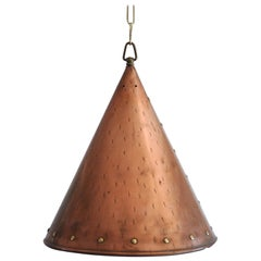 Cone Shaped Handcrafted Copper Pendant from Denmark, 1970s