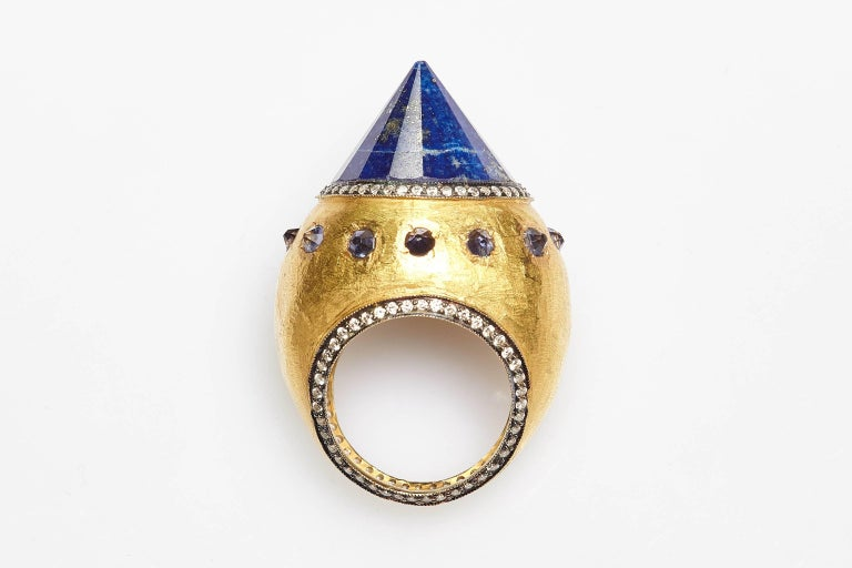Sodalite Cone Diamond Gold Cocktail Ring For Sale 1