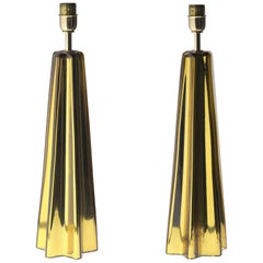 Cone Star-Shaped Table Lamps, Murano Amber Glass with Mercury Glass, Gold, Pair