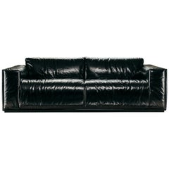 Coney Island 2-Seat Sofa in Black Leather