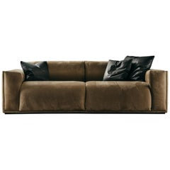 Coney Island 2-Seat Sofa in brown nabuk leather