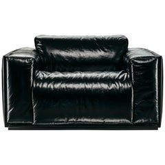 Coney Island Armchair in Black Leather