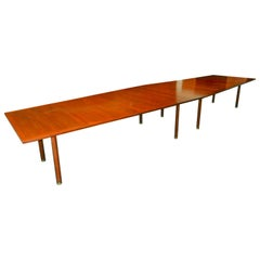 Conference, Dining Table by Dunbar, Walnut with Rosewood Trim, 1970s