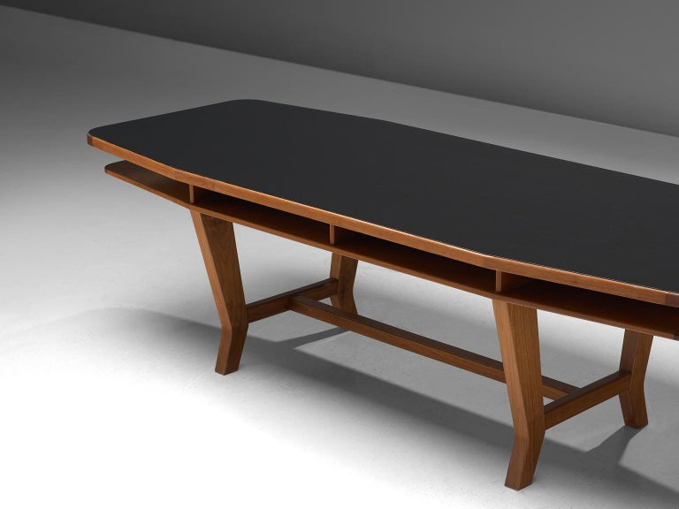 Mid-Century Modern Conference Table with Black Top and Solid Walnut Frame For Sale