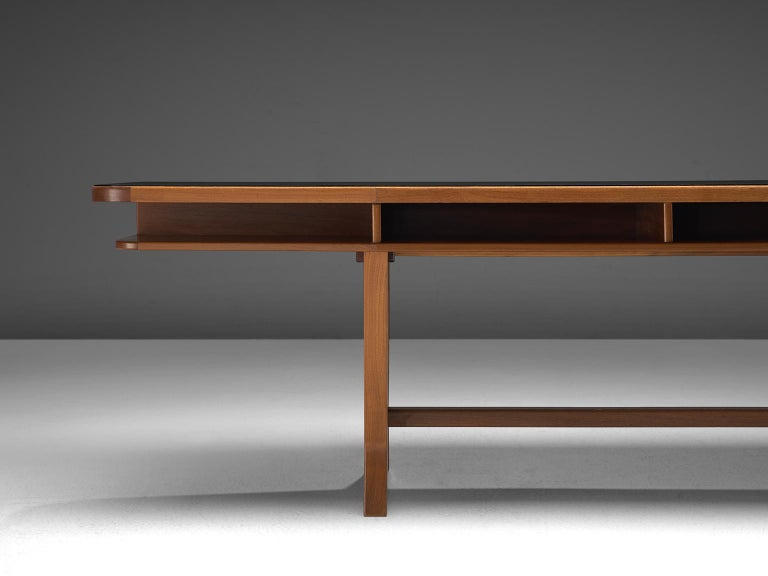 German Conference Table with Black Top and Solid Walnut Frame For Sale