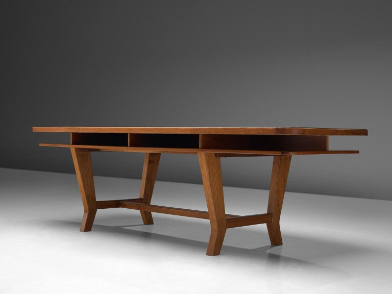 Conference Table with Black Top and Solid Walnut Frame In Good Condition For Sale In Waalwijk, NL
