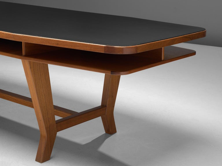Mid-20th Century Conference Table with Black Top and Solid Walnut Frame For Sale